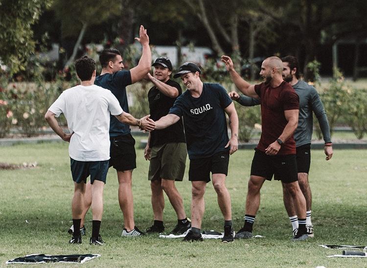 all man hands together