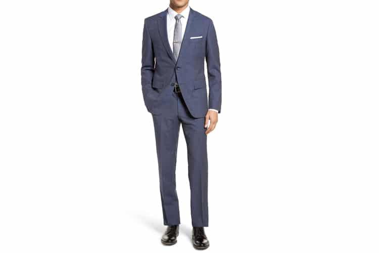 men's style classic fit blue suit