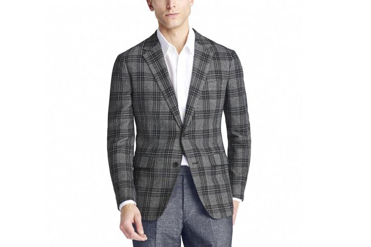 men's style unstructured blazer plaid design