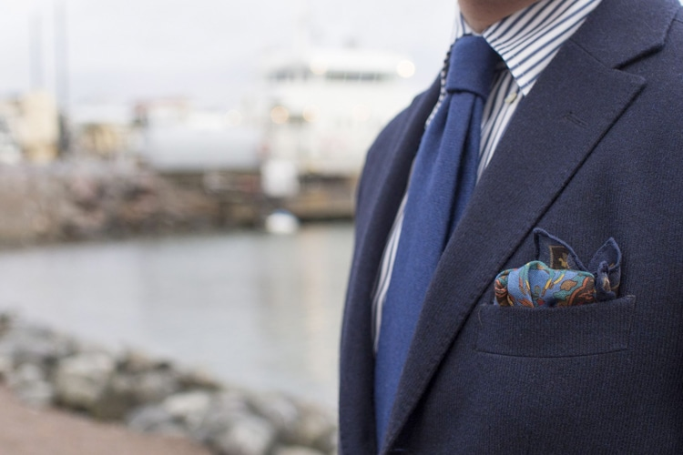 folding pocket square with blue suit view