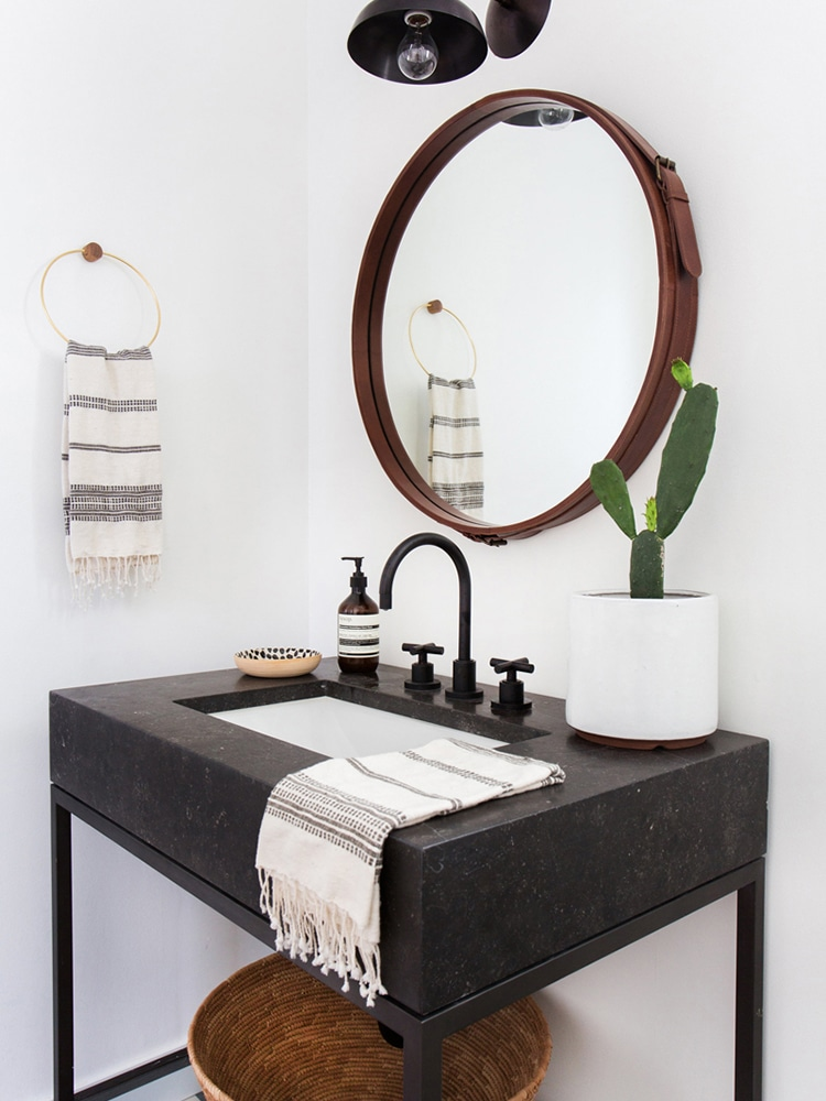 masculine bathroom full wood besin