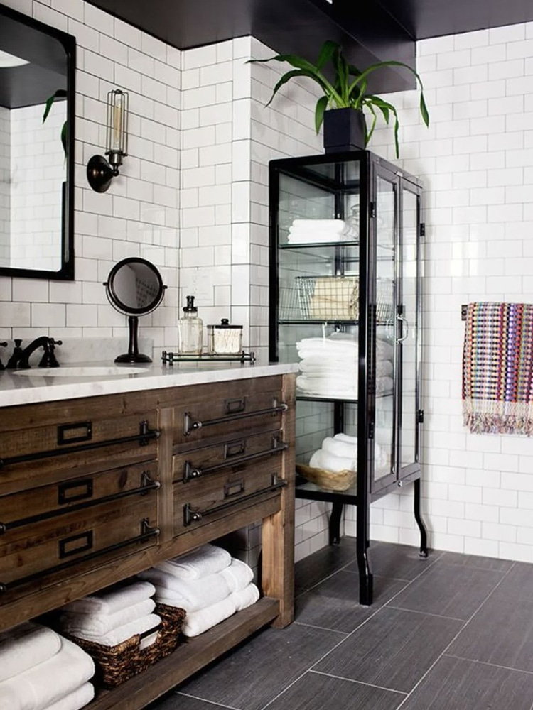 masculine industrial home decor bathroom