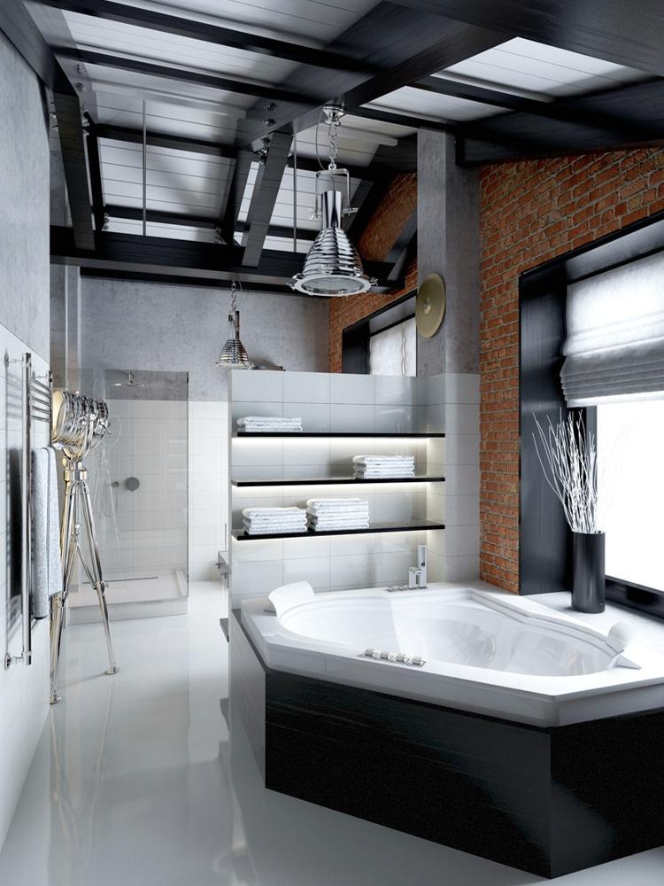masculine salle de bain loft bathroom