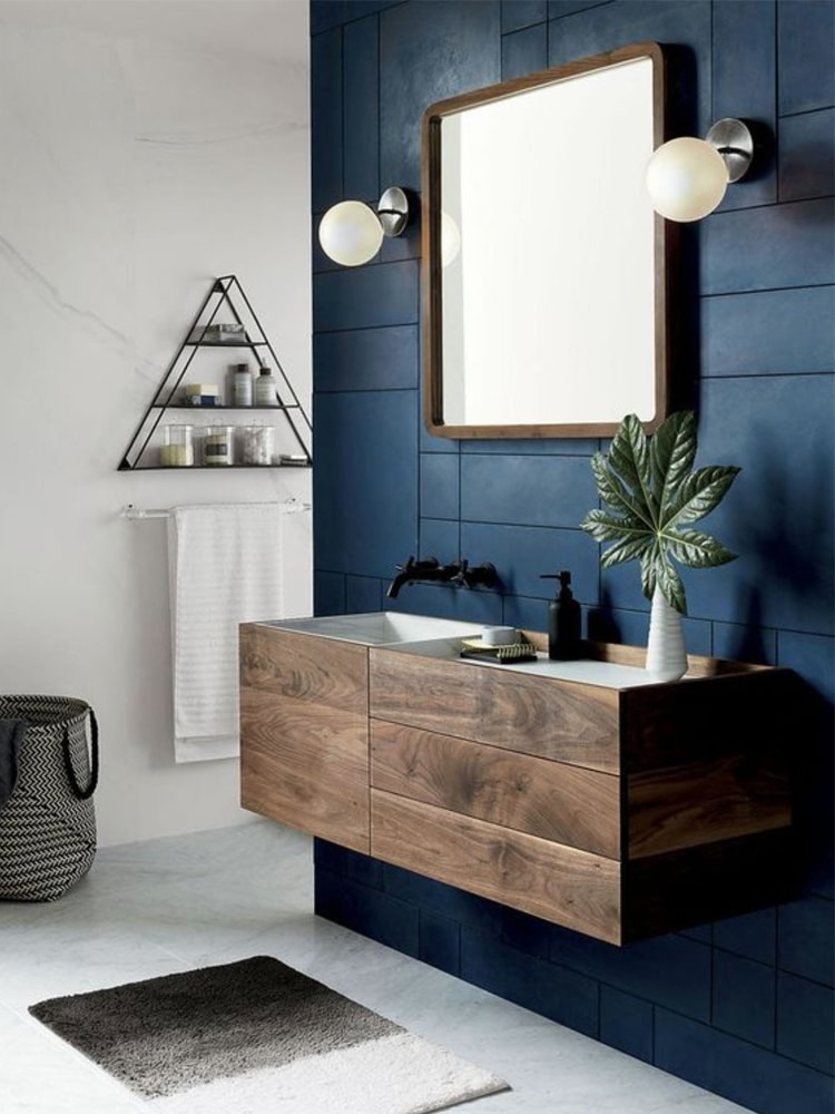 masculine bathroom wood besin