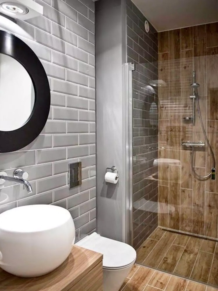 masculine wood look tile bathroom