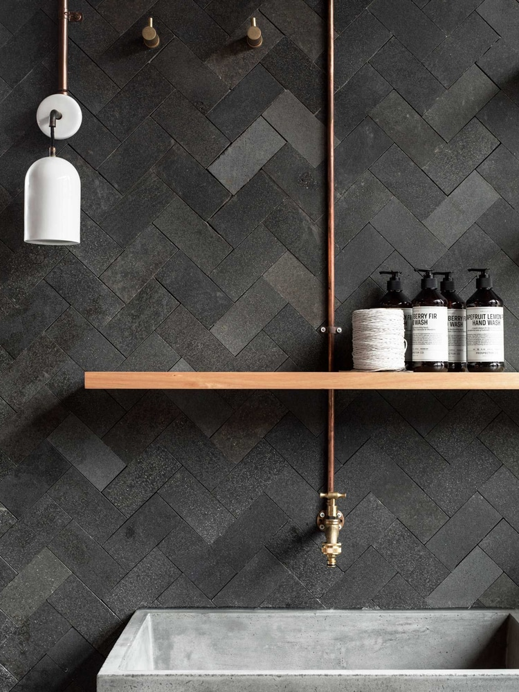 masculine dark concrete bathroom