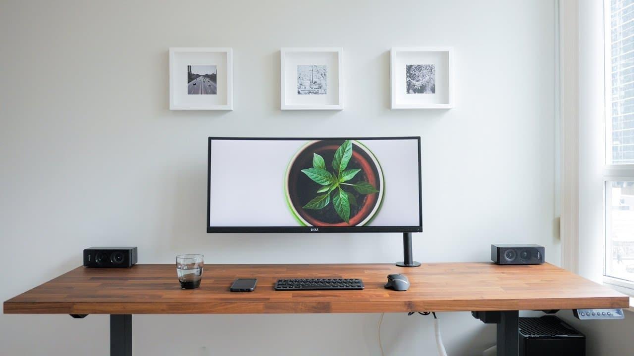 masculine office home minimalist desk setup