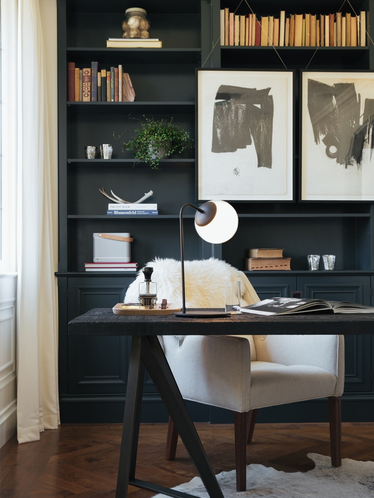 masculine home office black reck