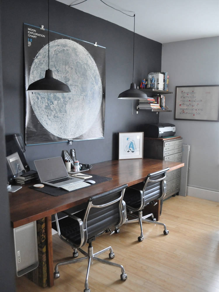 masculine home office moon exploration chart desk