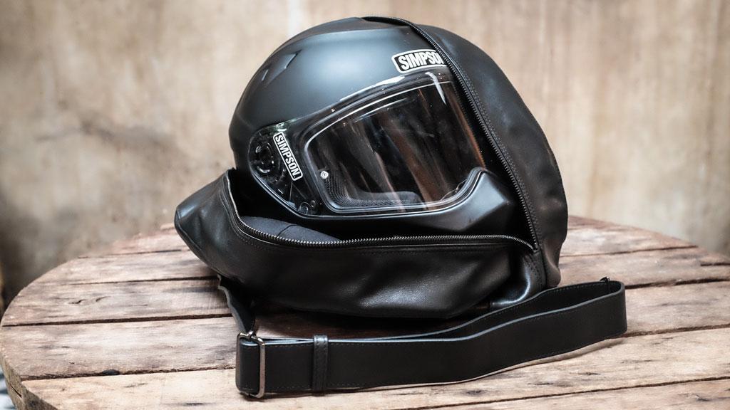 classic motorcycle helmet bag open