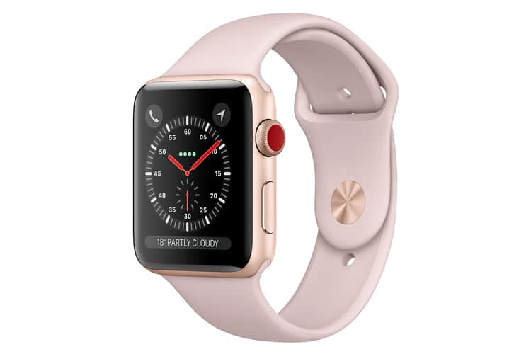 apple watch in pink sand
