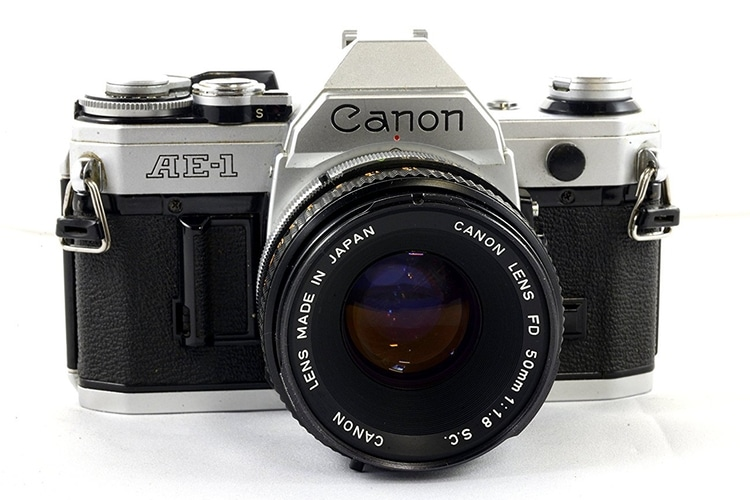 canon ae-1 film camera front side view