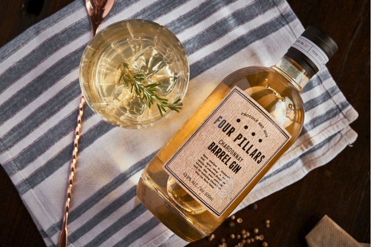 Four Pillars new Sheery Cask Gin plus spoon and cocktail glass