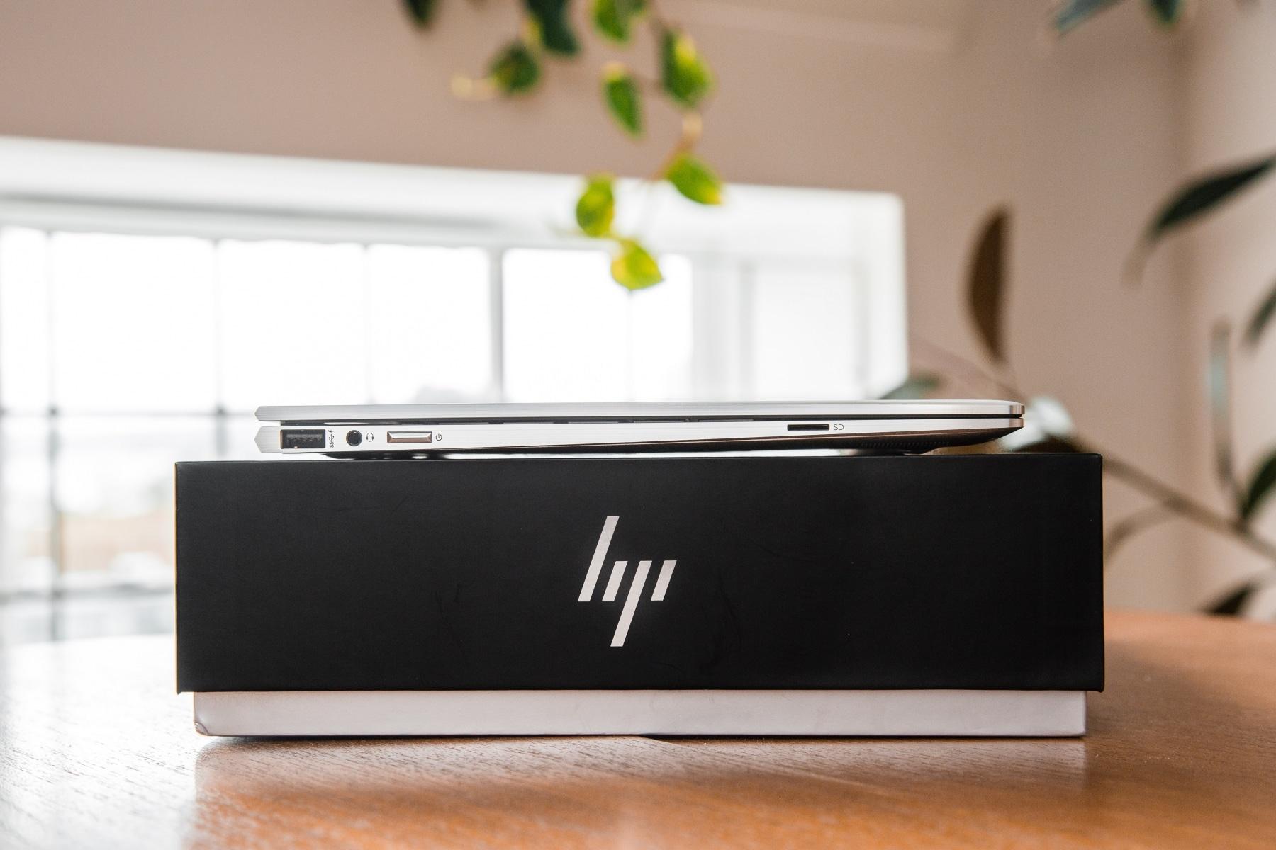 hp spectre x360 laptop on box