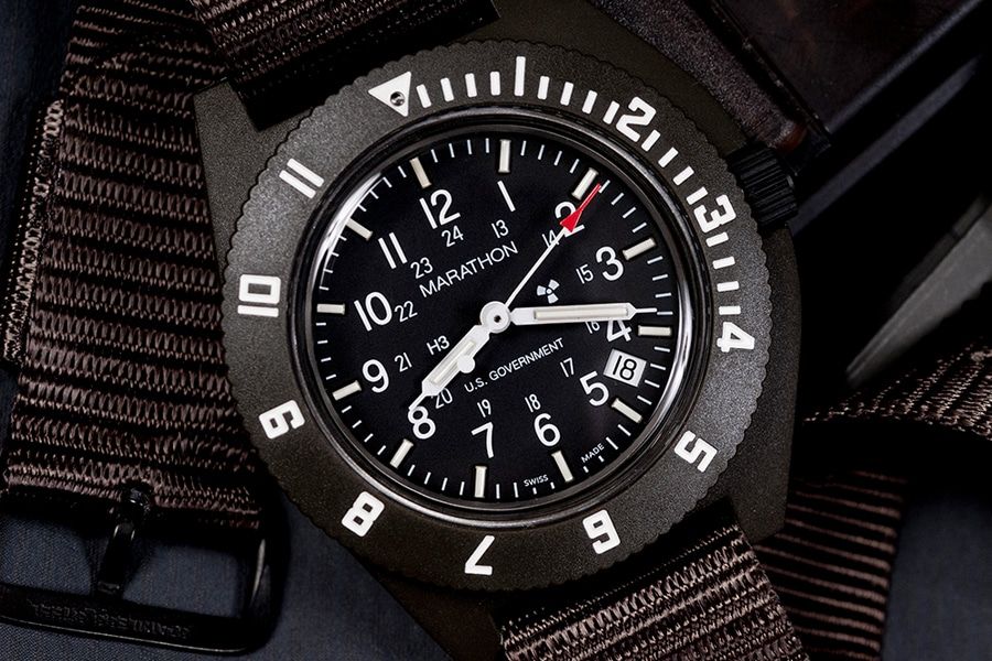 men's black military watch