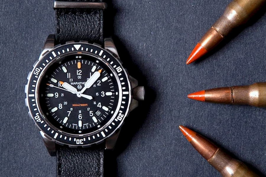 military tactical watch black for survival and bullets