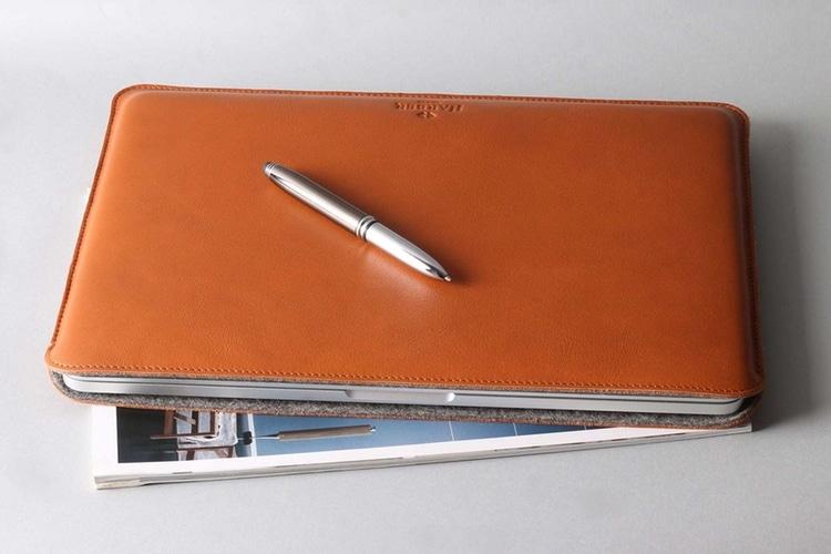 slim leather macbook sleeve case on s pen