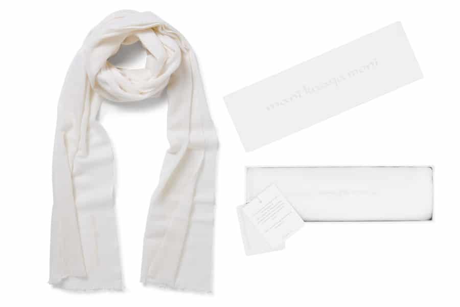 mani kaaga moni 100% cashmere knitted scarf