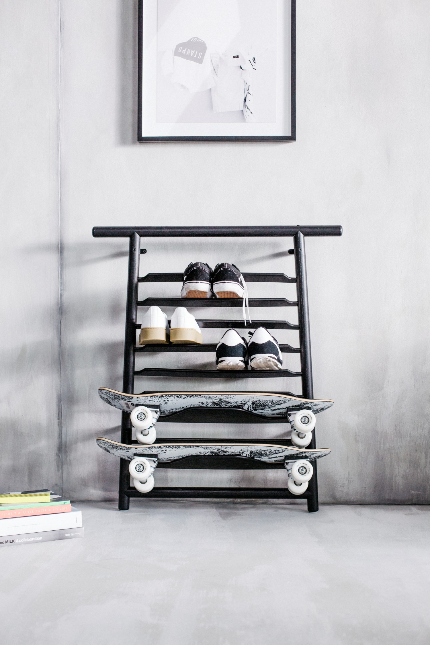 sneakers and skateboard in the ikea spanst case