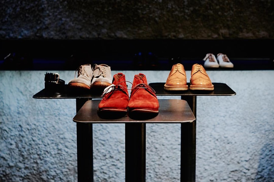 three shoes display pedestals for 124 shoes