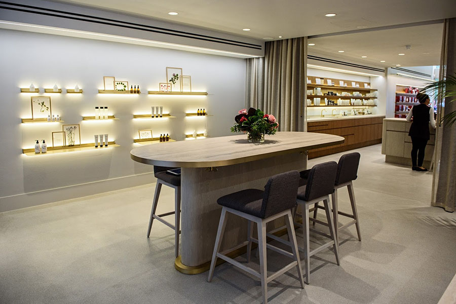 instore jurlique counter and product wall