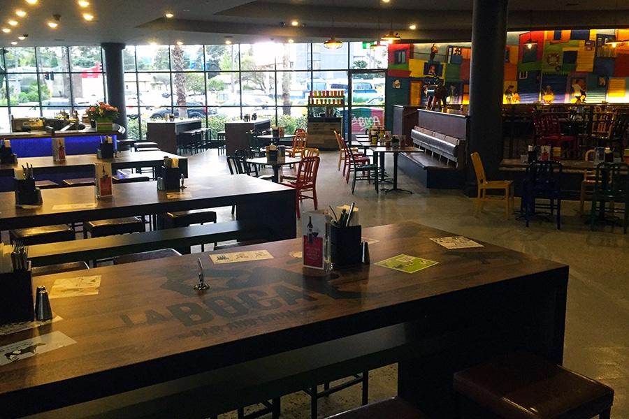 la Boca restaurant interior wooden benches