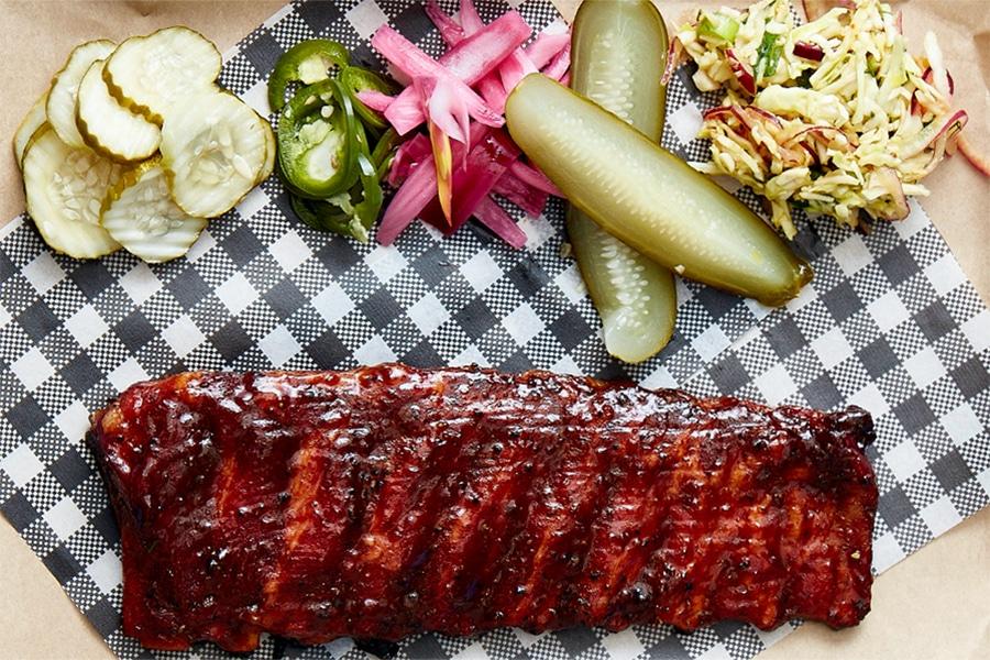 pork ribs pickles salad flatlay