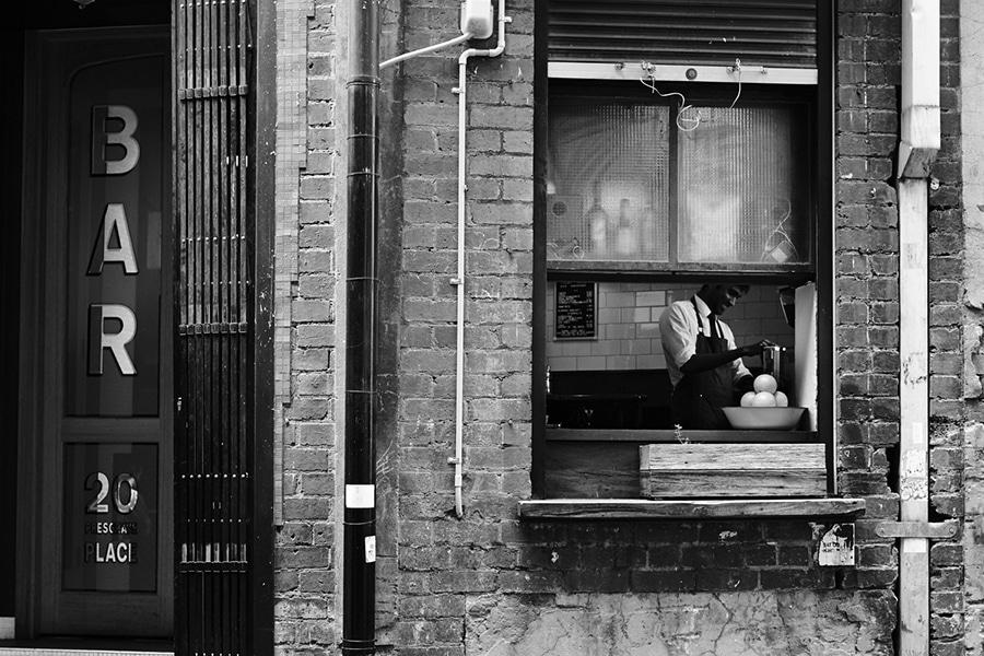 melbourne bar americano exterior brick facade black and white