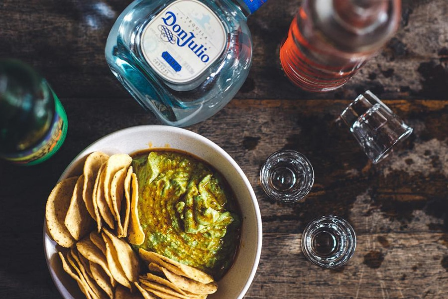 Don Julio tequila with guacamole and chips