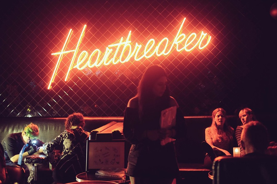 heartbreaker bar red neon sign