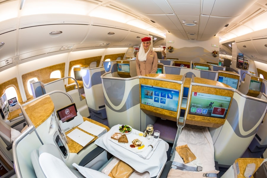 emirates a380 business class dining & meal with stewardess