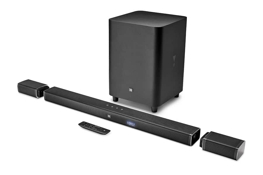 jbl sound system bar box and remote
