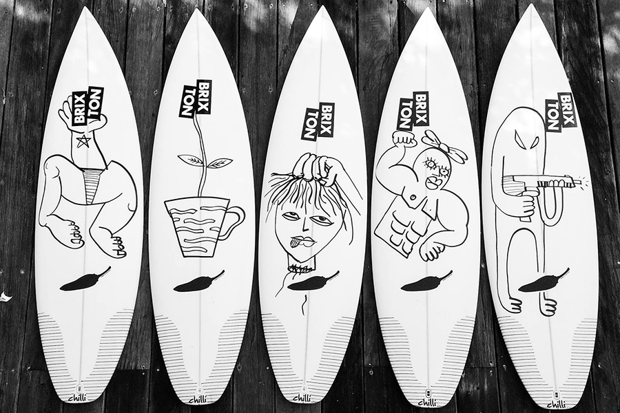 Surfboards with line drawing