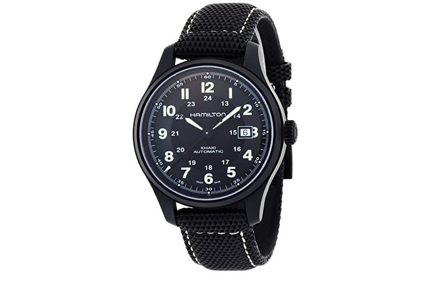 hamilton men field black dial watch