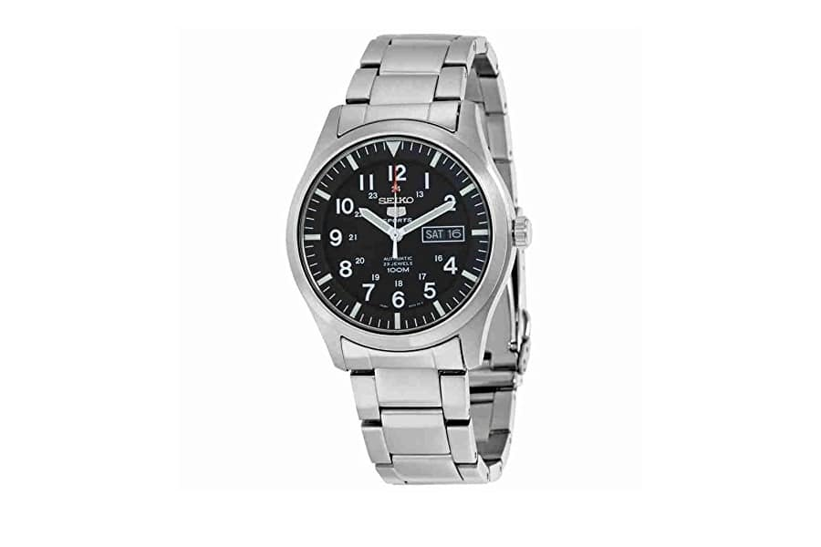 seiko 5 automatic black dial stainless steel