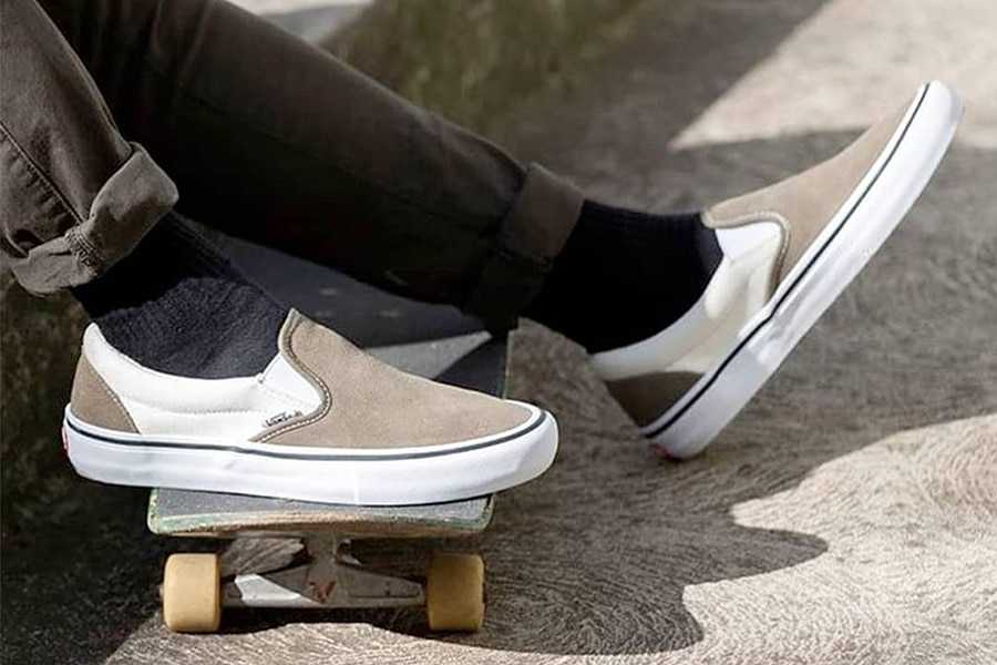 Shoes and skate board close up