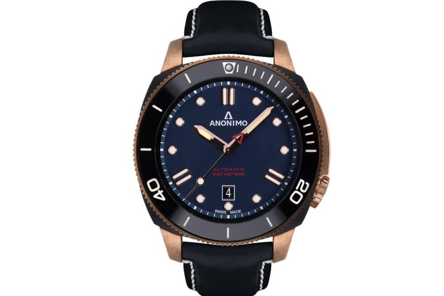anonimo automatic bronze blue dial