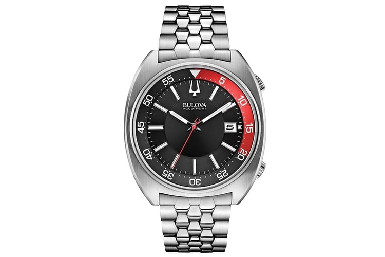 bulova accutron ii black and red dial