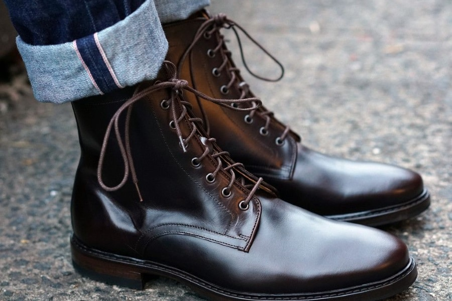 pair of fashionable commando boots