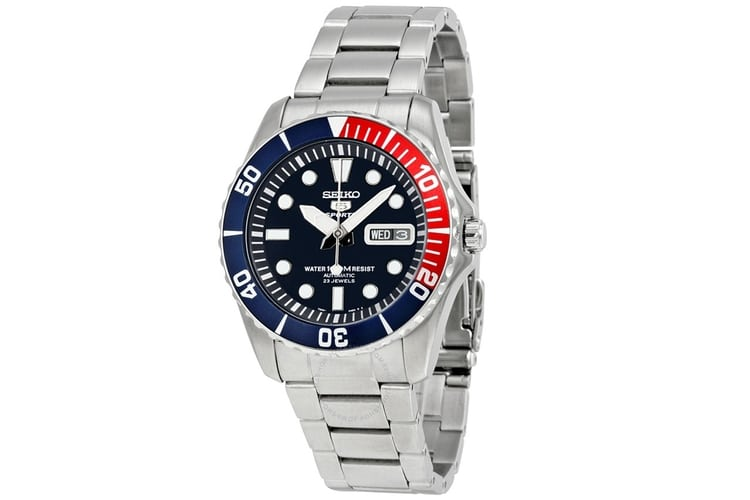 seiko 5 blue dial stainless steel