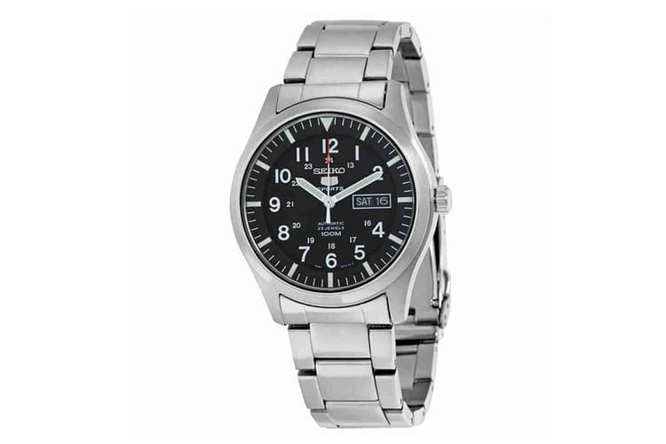 seiko 5 black dial stainless steel bracelet watch