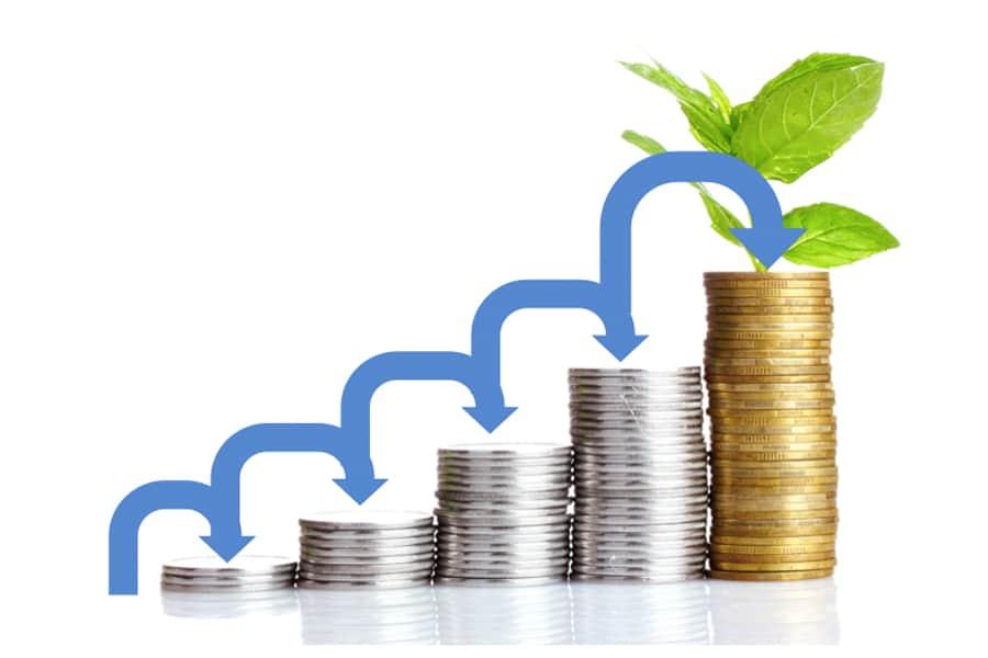 growing stacks of money