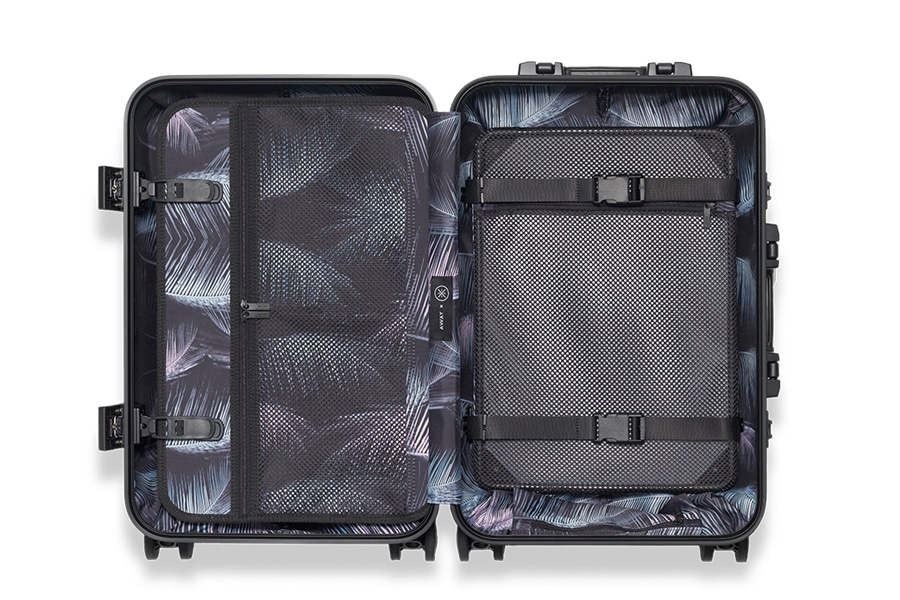 dwayne wade x away aluminum luggage inside