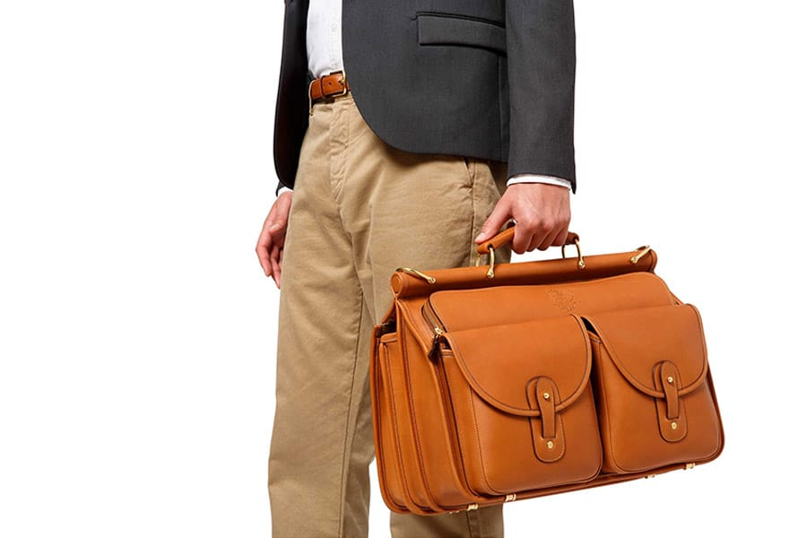 ghurka hand brown leather carry-on bag