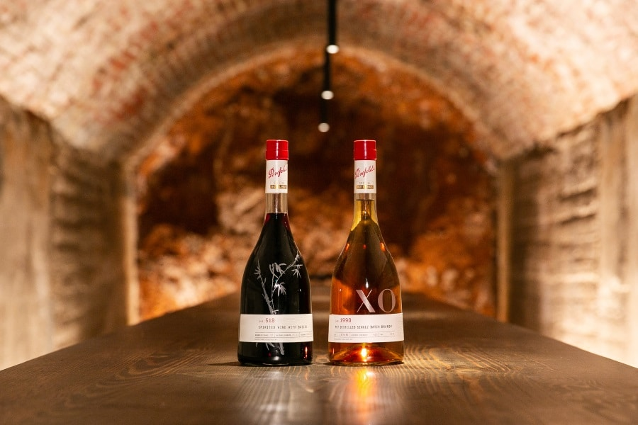 penfolds lot 1990 two wine bottles