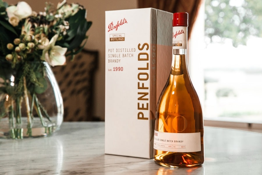 penfolds lot 1990 wine bottle and box