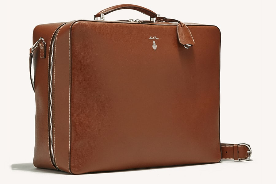 Mark Cross luxury leather suitcase full zipper