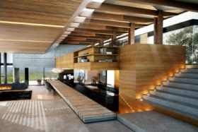Modern wood and concrete interior