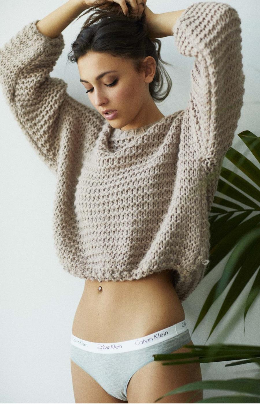 erika albonetti in sweater and underwear