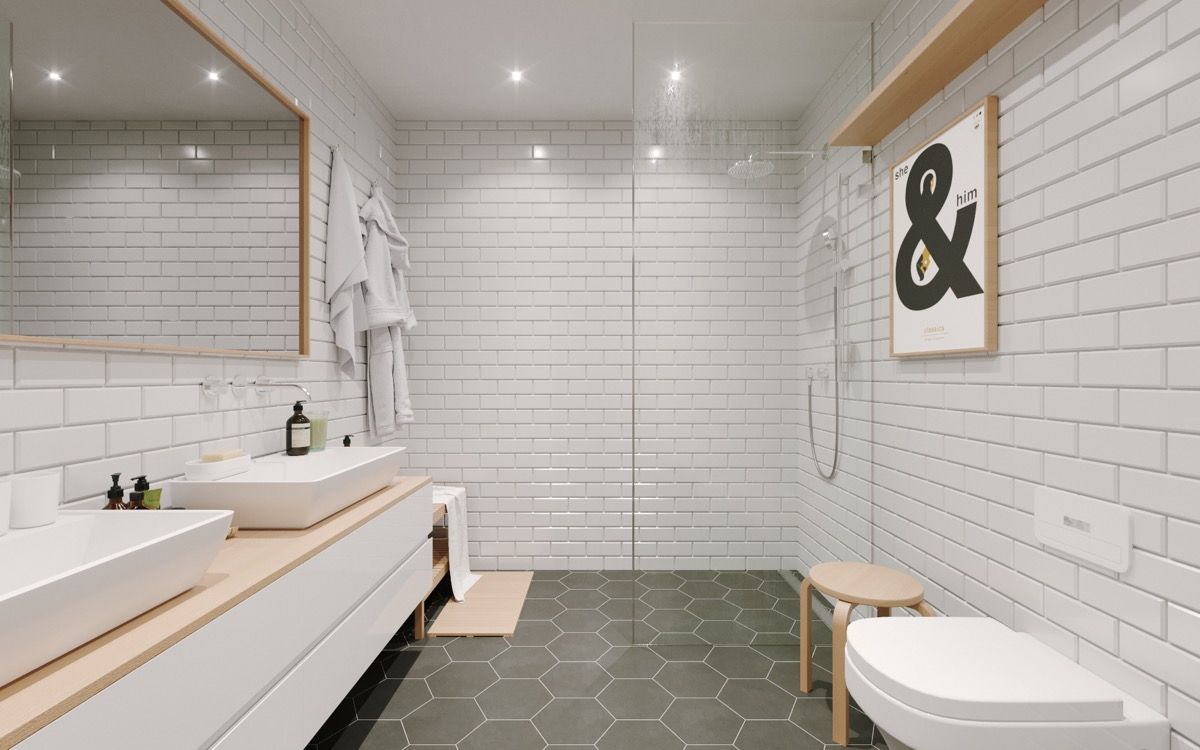 ampersand print modern bathroom